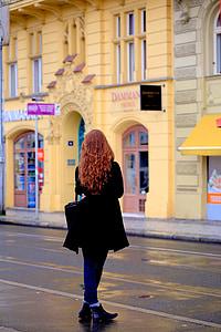 kvinne, tilbake, venter, tsjekkisk, Sentral-Europa, kvinner, folk