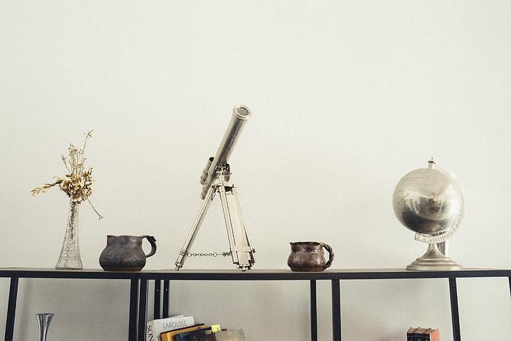 Telescopi, mobles, casa, disseny d'interiors, déco, globus, prestatge