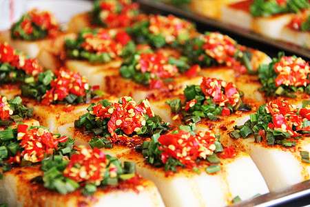 spicy, yam cake, steam, toufu, soft, snacks, delicious