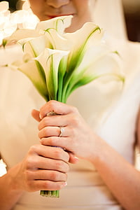 wedding, veil, the bride, wedding rings, love, lily, bouquet