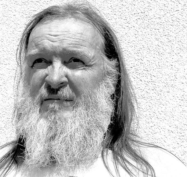 man, beard, portrait, face, view