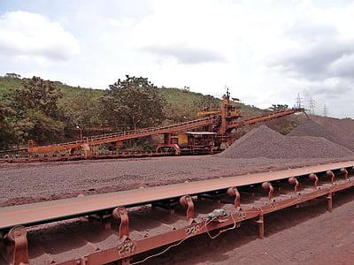 gruvdrift, järnmalm, Mine, transport, transportband, järn, mineral