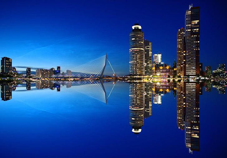 Ротердам, Skyline, архитектура, Холандия, град, небостъргач, небостъргачи