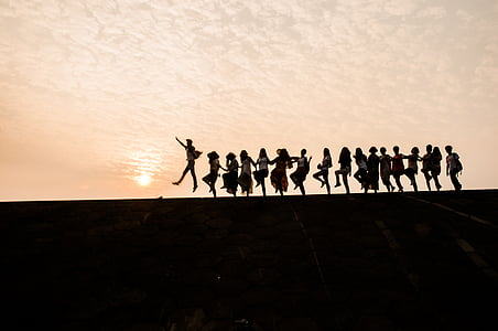 sunset, silhouette, party, youth, people, group Of People, men