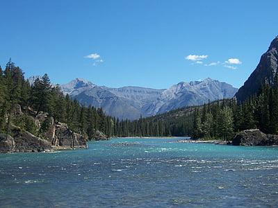 rieka, Kanada, modrá, modrá obloha cestovného ruchu, Dovolenka, strom, Zelená
