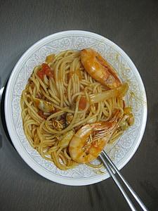 spagetid, krevetid, merekarp, tomatikaste, Kui, mereannid, plaat