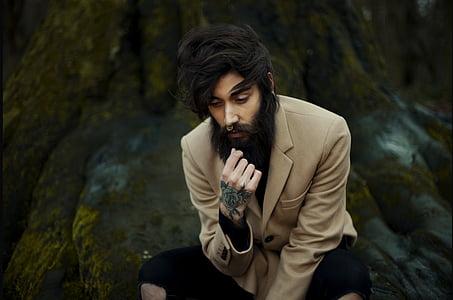 móda, muž, model, osoba, sedící, pouze jeden člověk, jedna osoba
