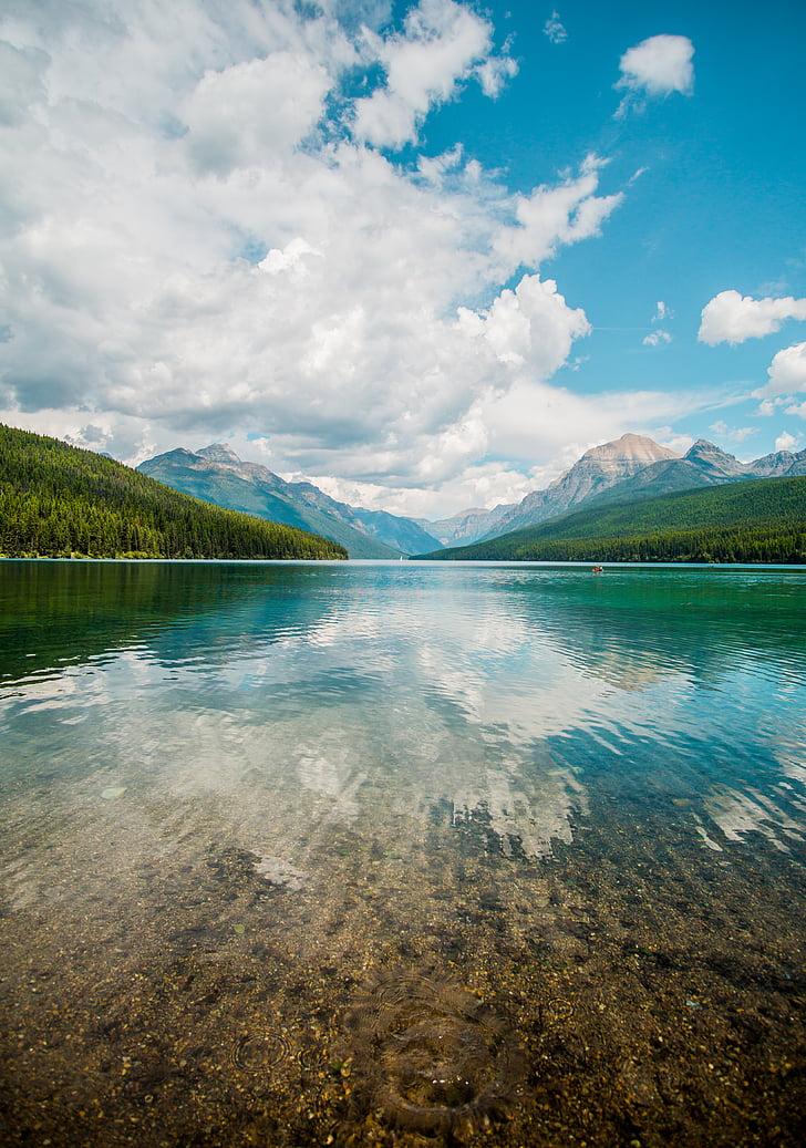 очистити, тіло, води, Хмара, Гора, небо, Хмара озеро