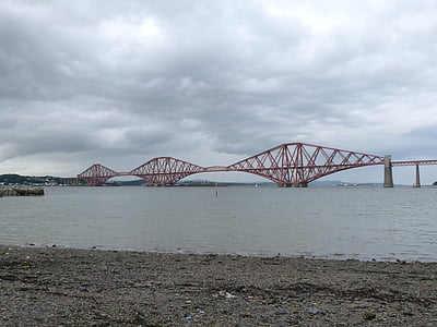 forth road bridge, scotland, water, bridge, rail, railway bridge