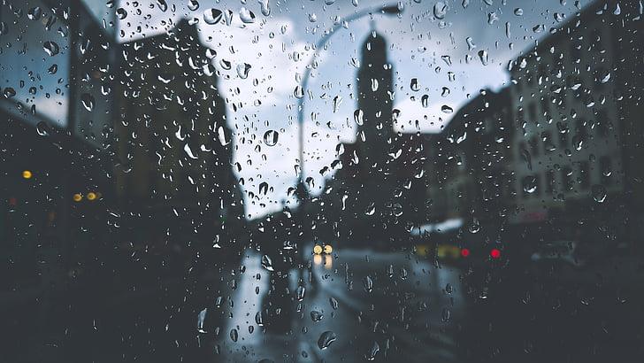 edificis, gotetes, gotes, vidre, fanal, líquid, moviment
