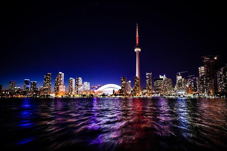 Toronto, pilsēta, KN tornis, skydome, siluets, arhitektūra, ēkas