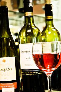 vi, ampolla, Copa de vi, vidre, vi blanc, vi fulles, vermell