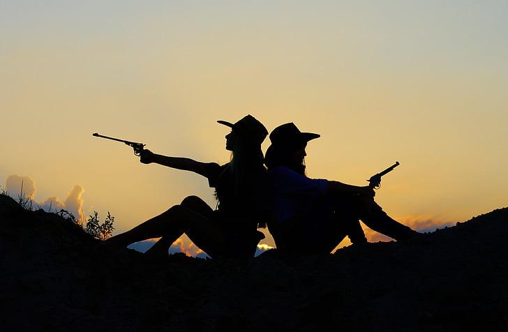 silueta, nit, posta de sol, nenes, pistola, capvespre, dues persones