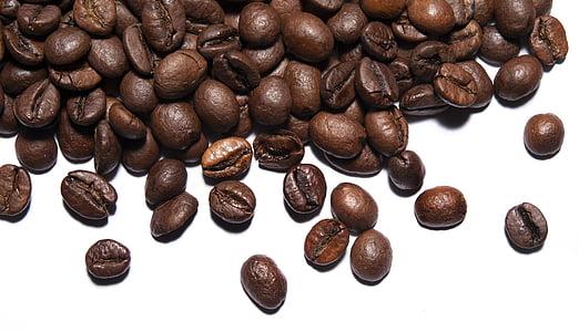 café, grains de café, grains de, fève, brun, caféine, café - boissons
