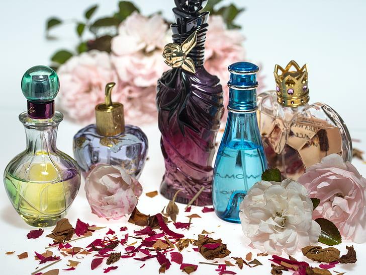květiny, růže, suché, okvětními lístky růží, parfém, flakony, formulář