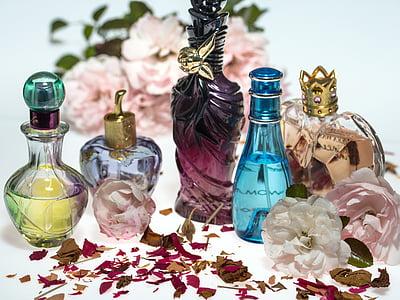 bloemen, rozen, droog, Rozenblaadjes, parfum, parfumflesjes, formulier