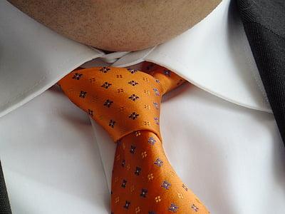 tie, orange, festive, man, neck, men, businessman