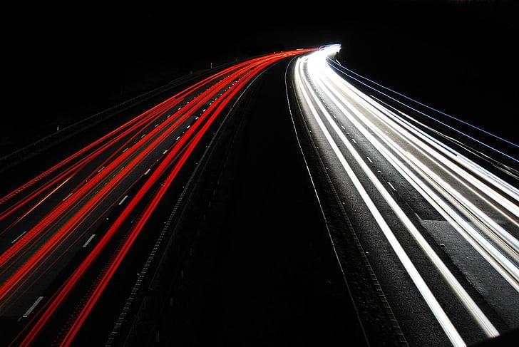 automobily, dálnice, světlo, závěrka, červená, bílá, noční