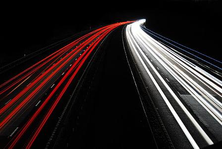 cotxes, l'autopista, llum, obturador, vermell, blanc, nit