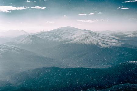natura, muntanyes, cel, núvols, boira, neu, l'hivern