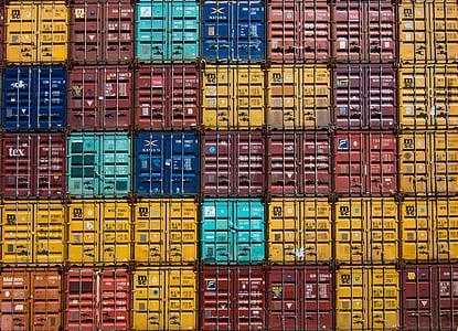 colorful, container, van, cargo, wharf, travel, cargo Container