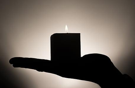 stearinlys, meditation, hånd, holde, varme, tillid, resten