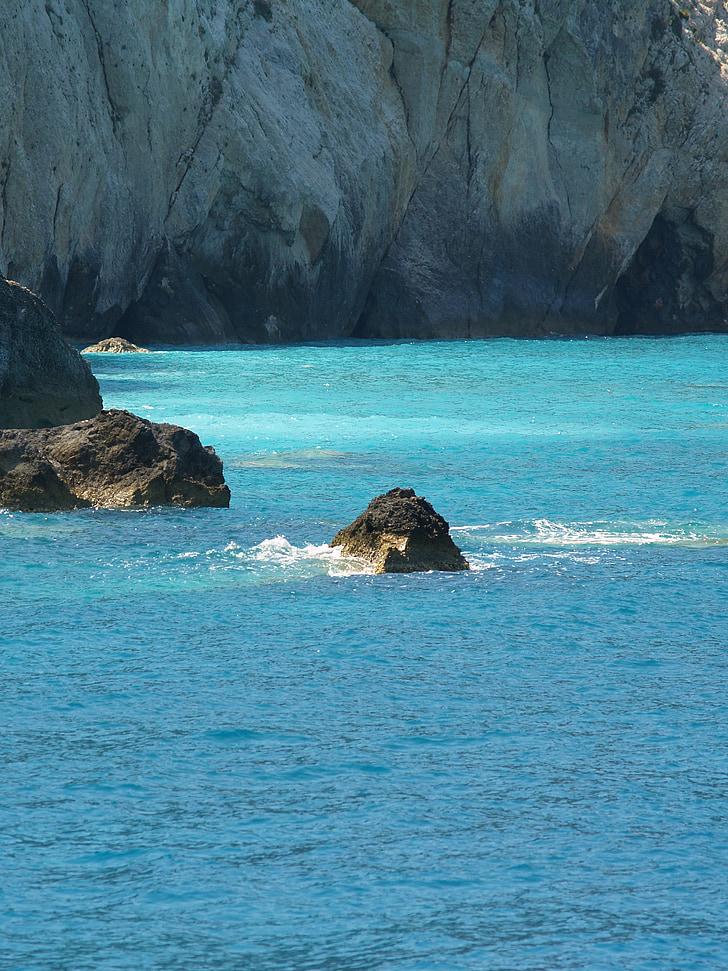 mare, turcoaz, pietre, roci de calcar