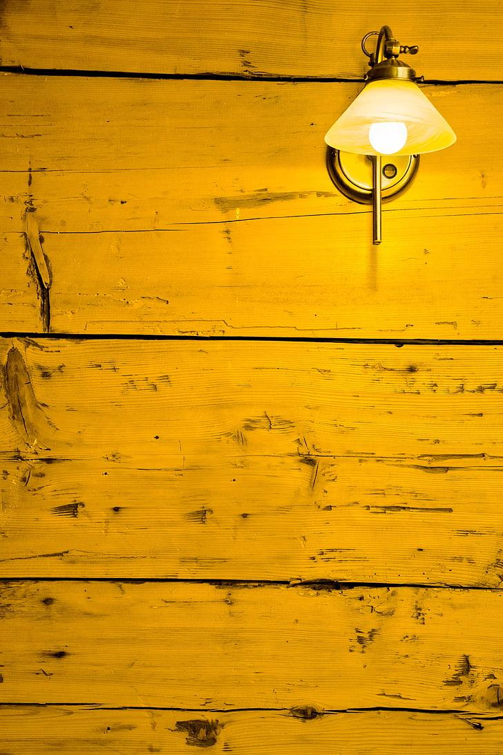 Làmpada de substitució, paret, llum, fusta, taulers, crua, estat d'ànim