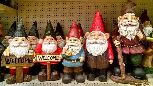 gnoms, elfs, jardí, decoracions, llegenda, barbut, decoratius