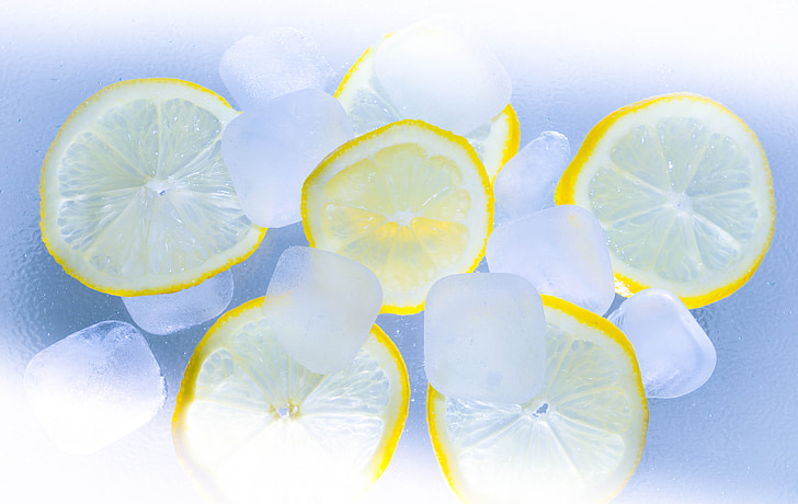 lemons, ice, summer, cocktail, lime, ice cubes