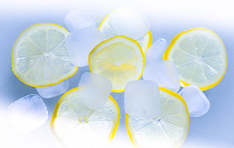 limões, gelo, Verão, coquetel, limão, cubos de gelo