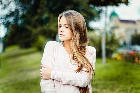 girl, model, woman, posture, pretty, hair, long hair