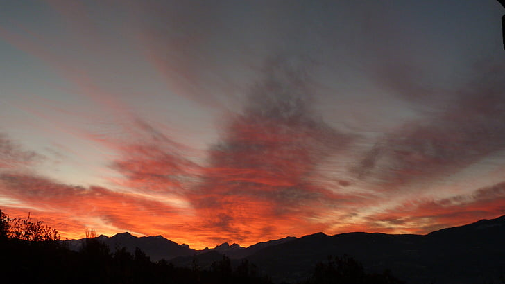 Alba, cel, núvols, colors, panoràmica, Alba, natura