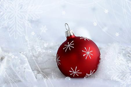 palla, Natale, tempo di Natale, Bagattella di Natale, ornamenti di Natale, Xmas, Bagattella rossa