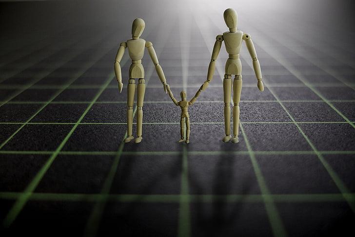 soci, de la mà, família, grup, humà, junts, escapament