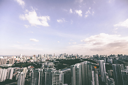 buildings, city, architecture, sky, clouds, high rises, downtown
