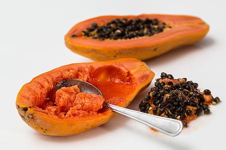 frön, Papaya, Tropical, frukt, Pawpaw, Mogna, exotiska