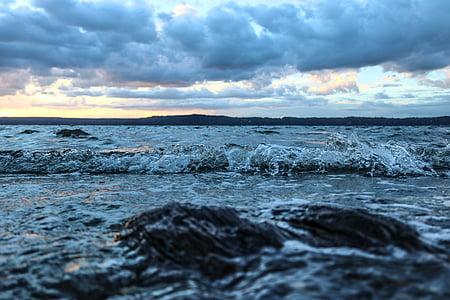 Océano, ondas, Pacífico, mar, agua, azul, naturaleza