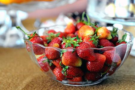 bol, fruites, vermell, maduixes, fruita, aliments, frescor