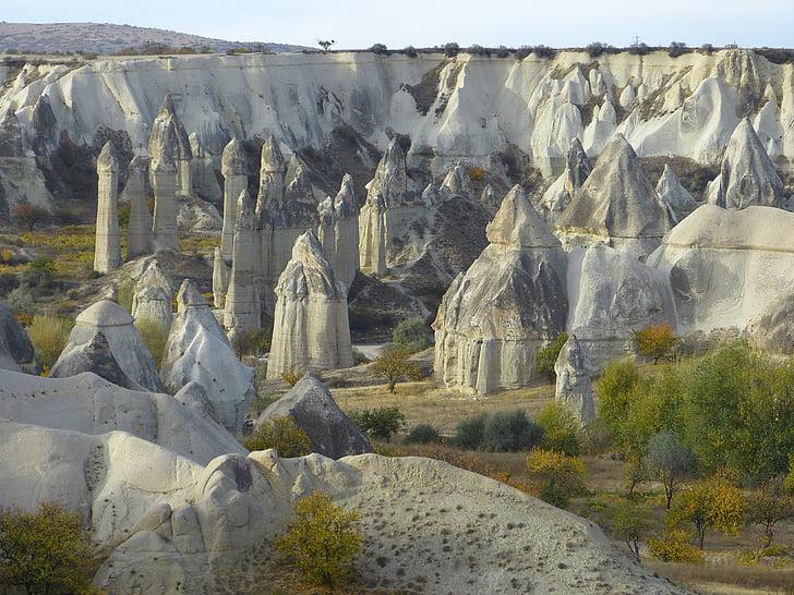 savupiipuille, tuffi, kallioperään, Cappadocia, maisema, Luonto, tuffi kokoonpanot
