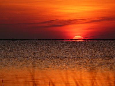 solnedgång, soluppgång, stranden, Ocean, gräs, solen, Sky