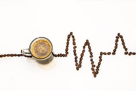 커피 컵, 커피, 컵, 커피 콩, ecg 곡선, 커피 거품, 나를 데리합니다