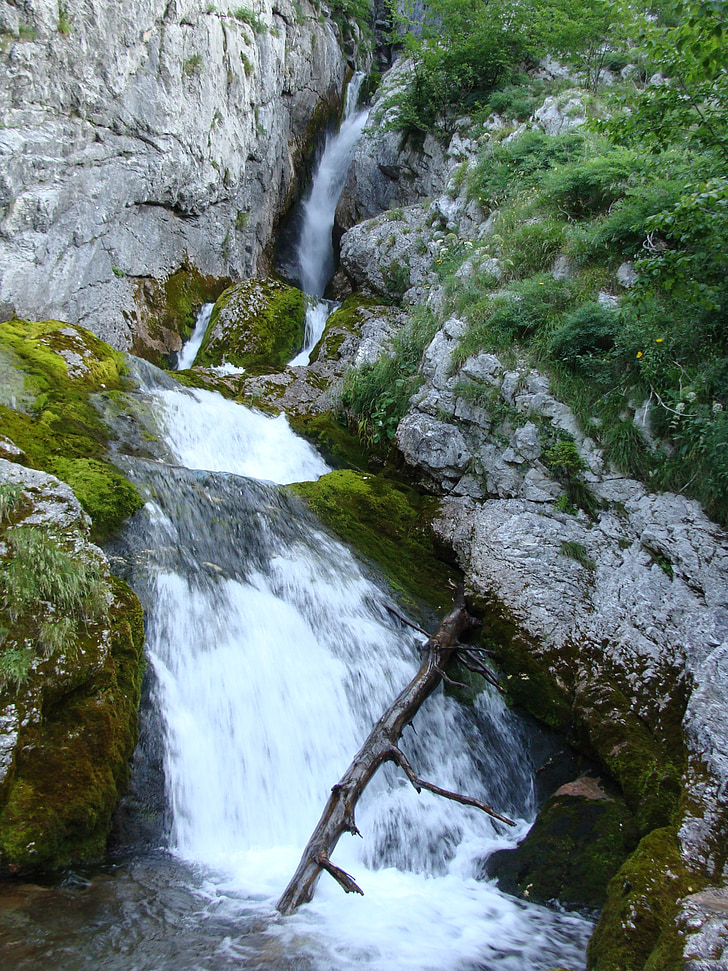 waterfall, water, mountains, slovenia, nature, holidays