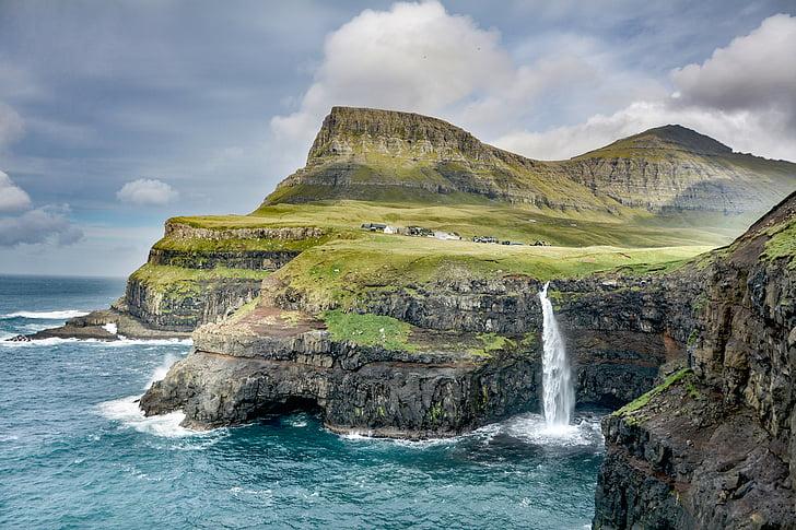 Free photo: nature, landscape, cliffs, grass, water, waterfalls ...
