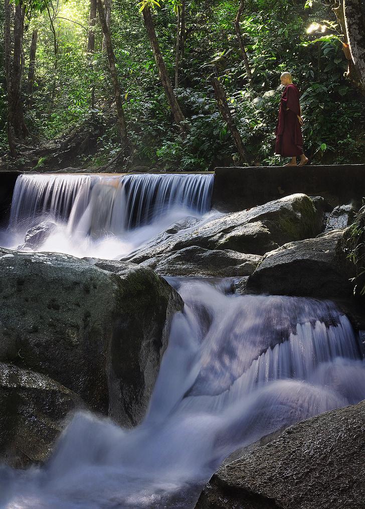 Theravada Phật giáo, đi bộ thiền, nhà sư, Thiên nhiên, thác nước, Phật giáo, Phật giáo