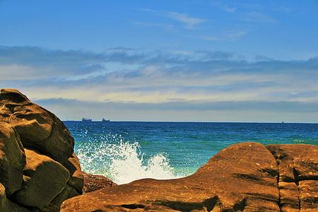 morski, more, oceana, plava, stijene, sprej, bijeli