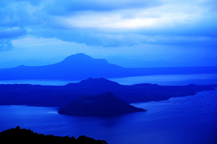 mėlyname fone, vandens, Atpalaiduojantis, kalnai, ežeras, mėlyna, fono