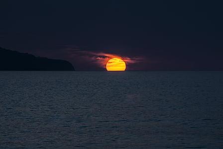 posta de sol, oceà, Illes Açores, Portugal, sol, São miguel, illa