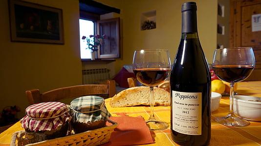 Puhkemajad-puhkemaja, Toscana, veini, toidu, alkoholi, Tabel, veinipudel