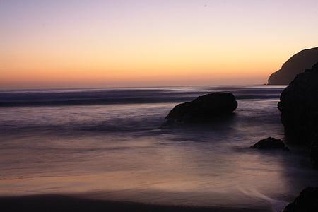 natura, paisatge, Mar, Alba, posta de sol, platja, Costa